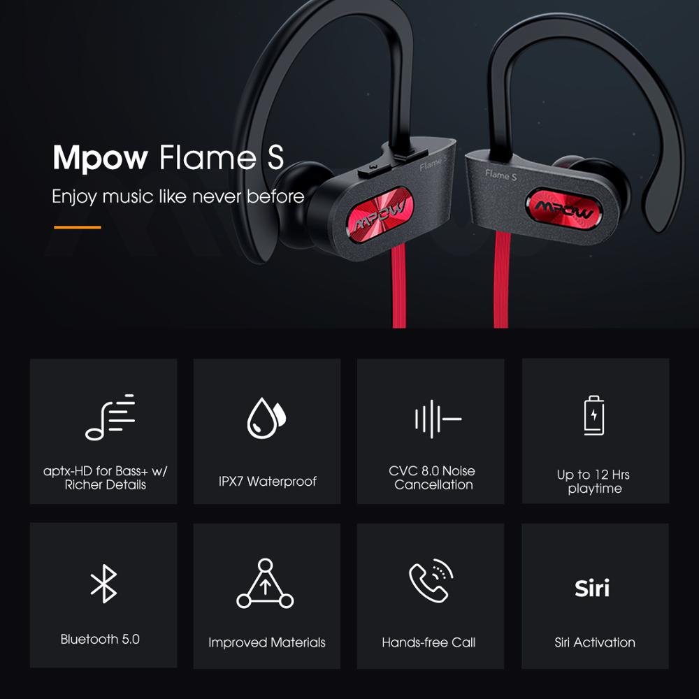 cheapest Mpow Newest Flame S Bluetooth 5 0 Wireless Sports Earphones CVC 8 0 Noise Cancelling Aptx-HD Sound iPX7 Sweatproof 12h Playtime