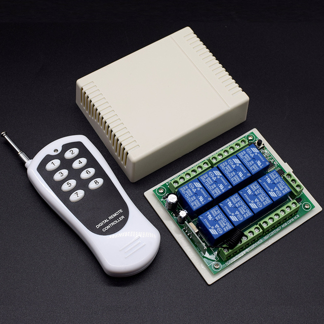 Transmisor receptor de sistema de Control remoto, interruptor de mando inalámbrico de radiofrecuencia de 12V, 24V CC, 8 canales, 8 botones, 433MHz, 8 canales