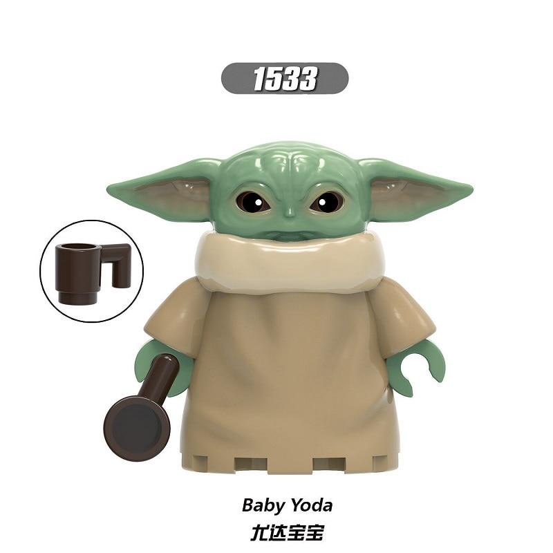 Bricks Yoda Baby Building Blocks Darth Vader Rey PoE Dameron Mandalorian Jango Fett Drabatan Figures For Children Toys XH 1533