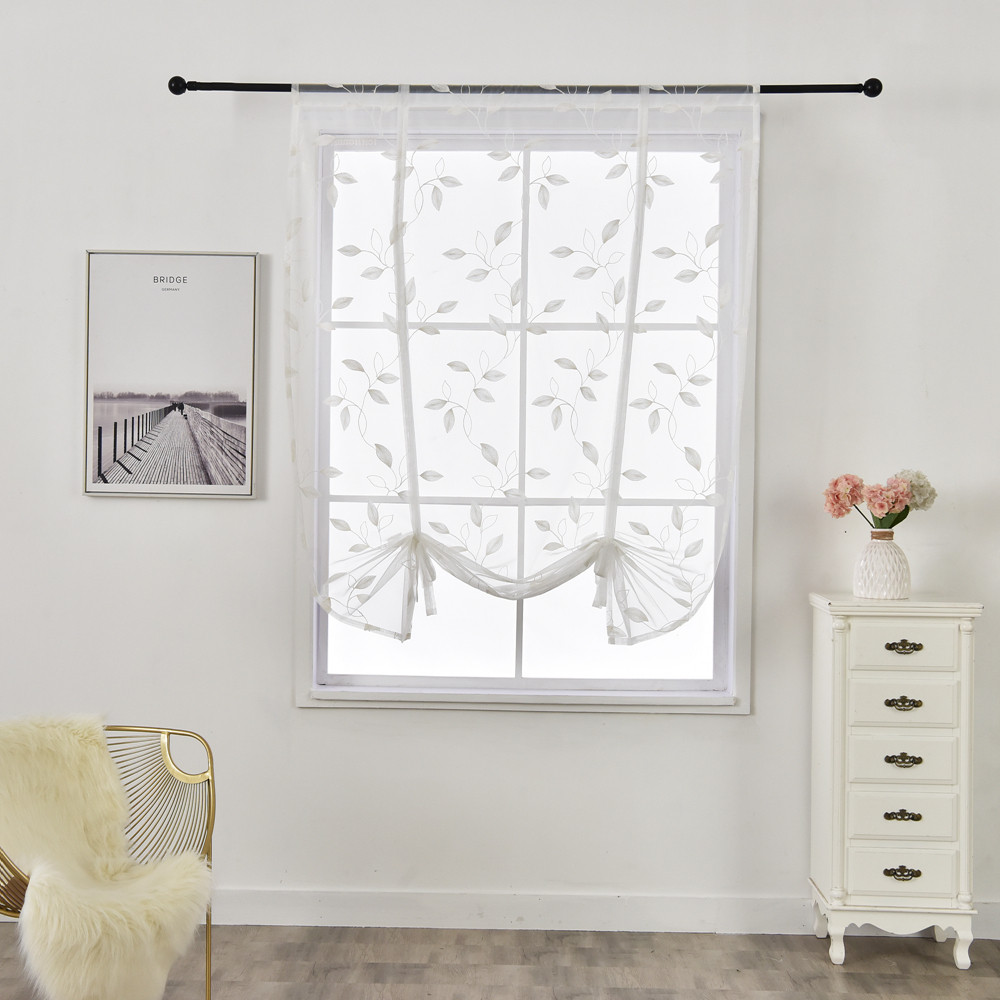Leaf Embroidered Short Roman Curtains White European Style Tulle Kitchen Cafe Curtain For Window Door Living Room Bedroom Decors
