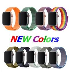 38 мм 42 мм 40 мм 44 мм ремешок для apple watch series 1 2 3 тканый нейлоновый ремешок для iWatch 4 5 с красочным узором Классическая пряжка