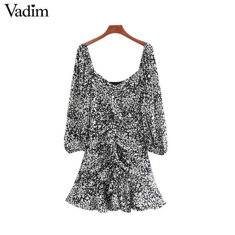 Vadim women sexy print ruffled mini dress side zipper three quarter sleeve pleated design female slim casual dresses QD188Dresses   -