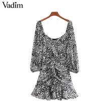 Vadim women sexy print ruffled mini dress side zipper three quarter sleeve pleated design female slim casual dresses QD188