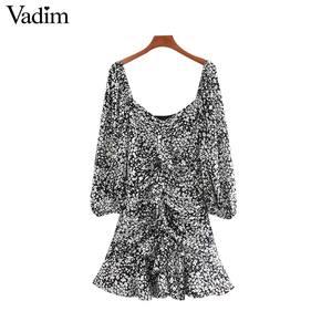 Image 1 - فستان نسائي مثير مكشكش ذو قصة ضيقة من Vadim فستان ذو سحّاب جانبي بأكمام ثلاثة أرباع تصميم مطوي فساتين غير رسمية ضيقة للسيدات QD188