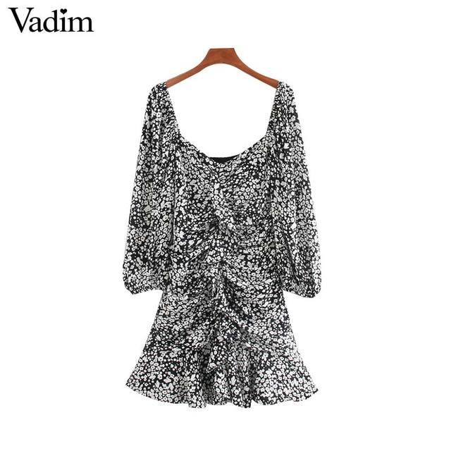 فستان نسائي مثير مكشكش ذو قصة ضيقة من Vadim فستان ذو سحّاب جانبي بأكمام ثلاثة أرباع تصميم مطوي فساتين غير رسمية ضيقة للسيدات QD188