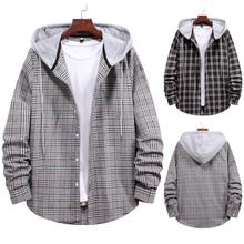 Новинка мода бренд мужчины% 27 Новинка мужчины% 27 пара с капюшоном +с длинными рукавами клетчатая рубашка куртка куртки для мужчин +cazadora hombre +куртки