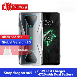 Глобальная версия черного цвета с изображением акулы 3 5G Snapdragon 865 8 ГБ 128 игры телефон Octa Core 64MP AI тройной Камера 65 Вт UFS 3,0