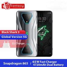 Versão global tubarão preto 3 5g snapdragon 865 8gb 128gb jogo telefone octa núcleo 64mp ai triplo câmera 65w ufs 3.0