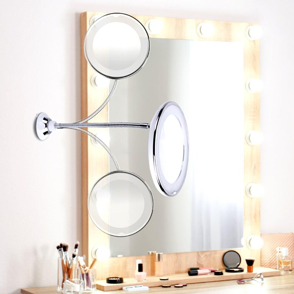 10x espelho de maquiagem de ampliação flexível