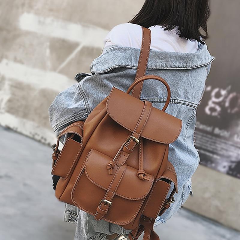 Fashion Women Leather School Vintage Backpack Girls Small Schoolbag Mochila Feminina Brown Black Drawstring Backpacks Sac A Dos