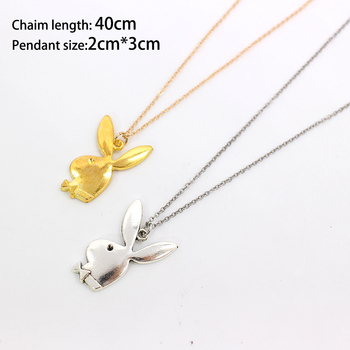 Cute play rabbit charm necklaces women jewelry funny animals Pendant necklace man Gentleman jewelry drop ship 5