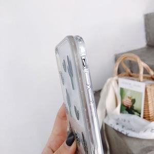 Image 5 - الأخضر بوتاني الصبار نمط السائل الرمال المتحركة جراب هاتف آيفون 11 مجموعة برو ماكس x xr xs 8 7 6 6s زائد silversand شفافة