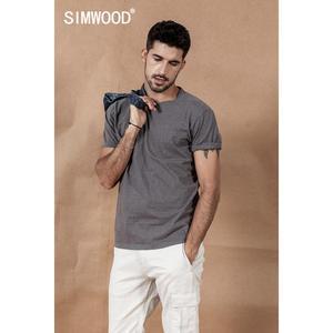 Image 2 - SIMWOOD 2020 קיץ חדש צבע כותנה חוט דוט מחשוף חולצה גברים חולצות באיכות גבוהה בתוספת גודל מותג בגדי 190475