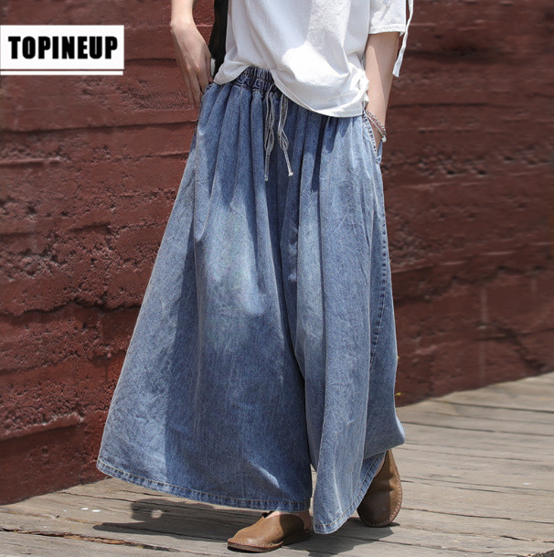 Women's   Streetwear Large Sizes Denim Pants  New Spring Baggy Elastic Waist Casual  Denim Jeans With Pockets