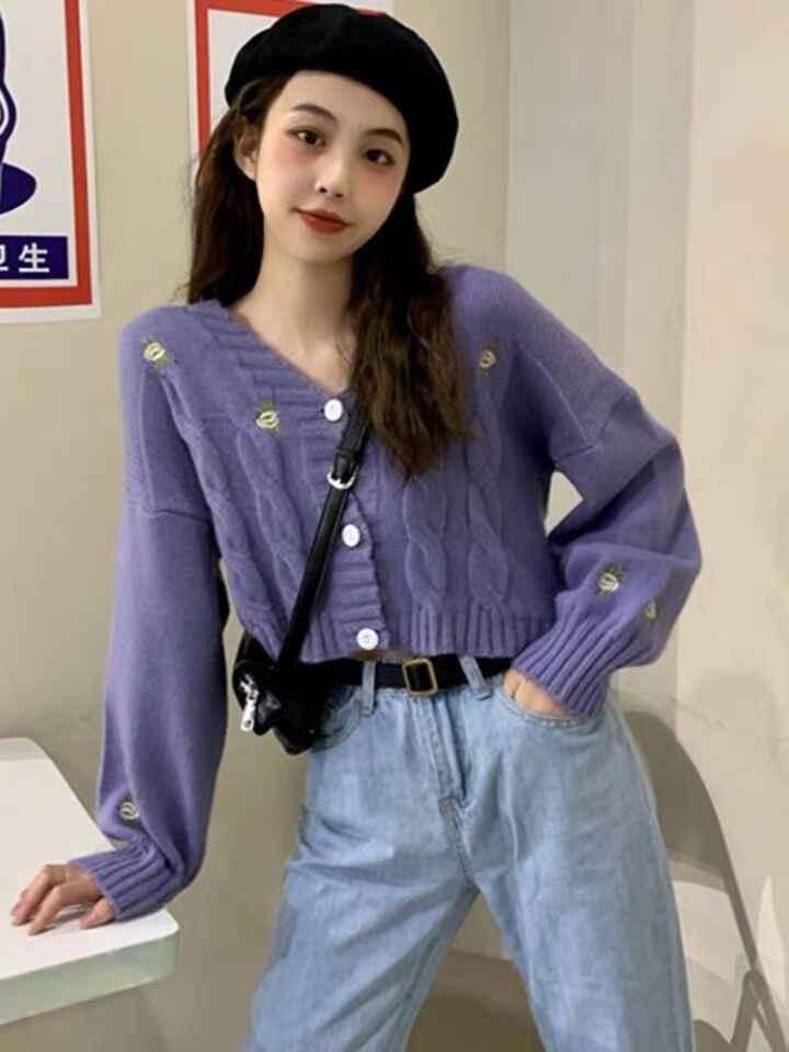 Woherb Herbst Frauen Pullover Floral Stickerei Strickjacke Jacke Koreanische Stricken Crop Mantel Langarm Vintage Stricken Strickjacken 23266