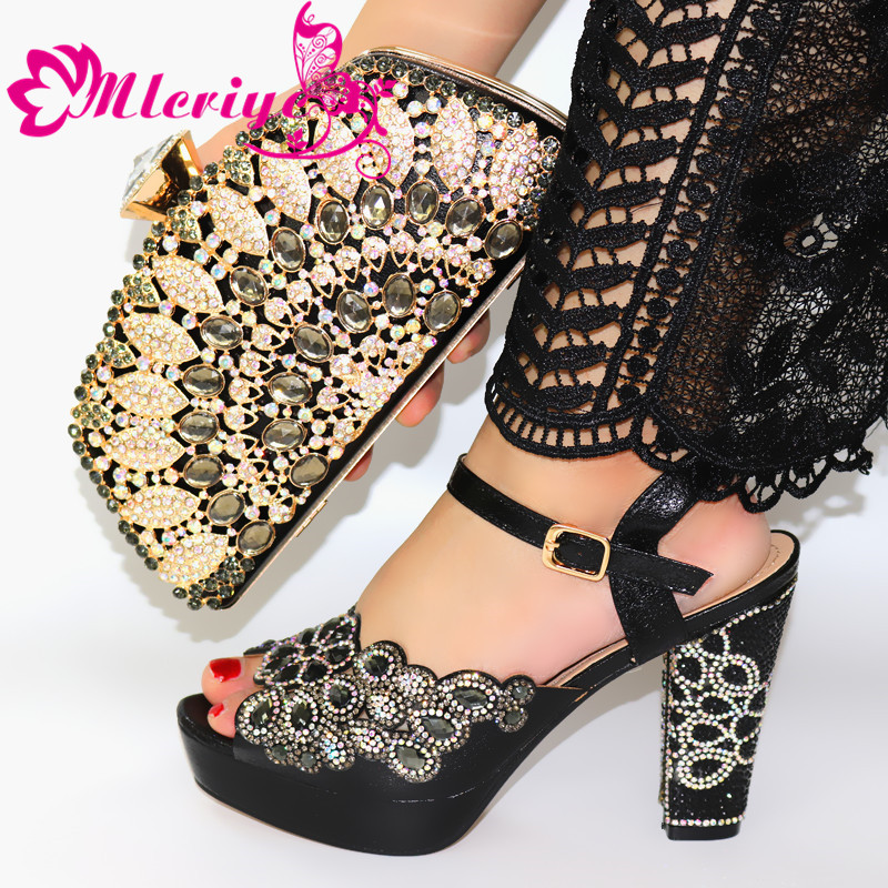 Designer Shoes Matching-Bags-Set Italian Black-Color African High-Quality And To Party
