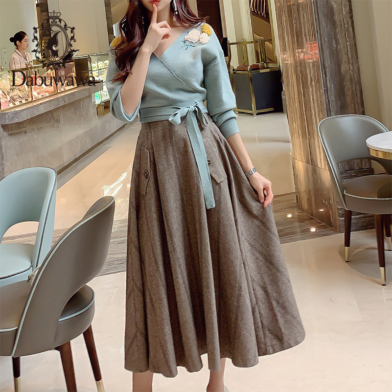 Dabuwawa Elegant High Waist Skirts Womens Autumn Winter Solid Maxi Skirt A Line Classy Ladies Long Skirt Female DN1DSK014