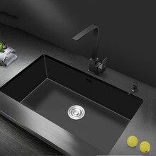 Нано-бак для воды с одним канавком, Черная кухонная раковина, раковина из 304 нержавеющей стали, раковина для мытья овощей под креплением для большой кухни