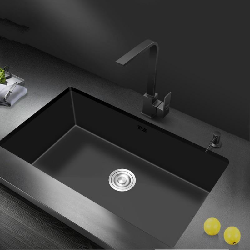 Nano-réservoir d'eau simple rainure noir cuisine évier bassin 304 acier inoxydable légume-lavabo sous montage pour grande cuisine