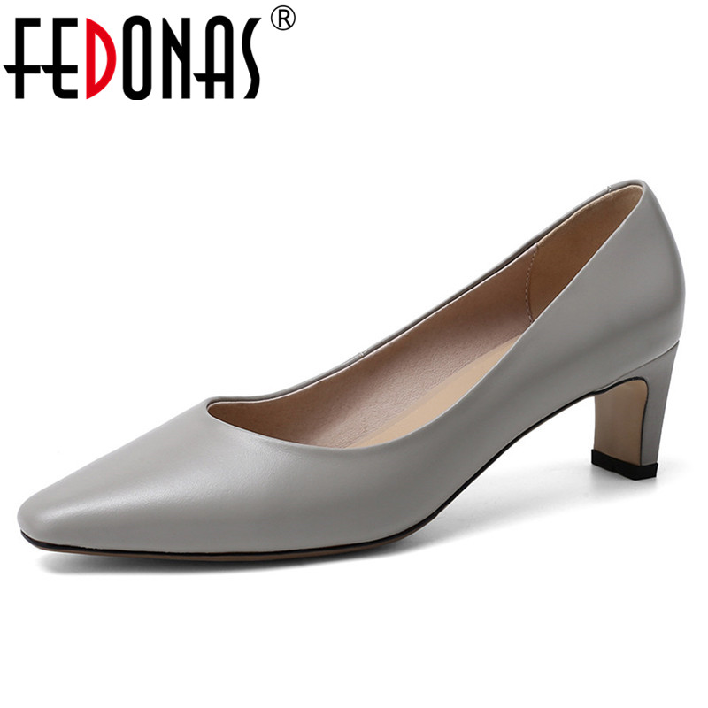 FEDONAS Concise Pumps Women Shallow Pointed Toe High Heels Pumps Genuine Leather Spring Autumn Elegant Party Office Shoes Woman