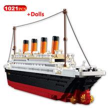 194/1021 pçs diy blocos de construção criador cidade modelo titanic cruzeiro 3d blocos tijolos educativos figuras brinquedos para crianças natal