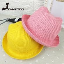 Hat Straw-Hat Handmade Children's Summer Outing Travel Baby Women New Gorro Sandal Cat-Ear