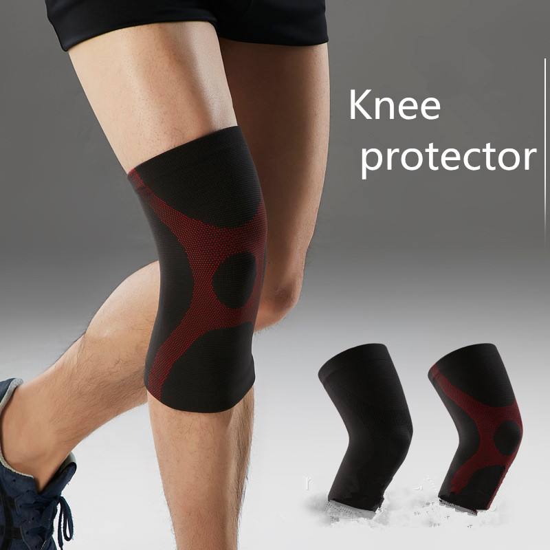 1 Double Sports Kneecaps Cycling Fitness Non-slip Breathable Knit Thermal Silicone Sponge Kneecaps For Both Men And  Women  K118