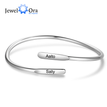 Cuff-Bracelets Bangles Engraved Custom Stainless-Steel Personalized Women Name for