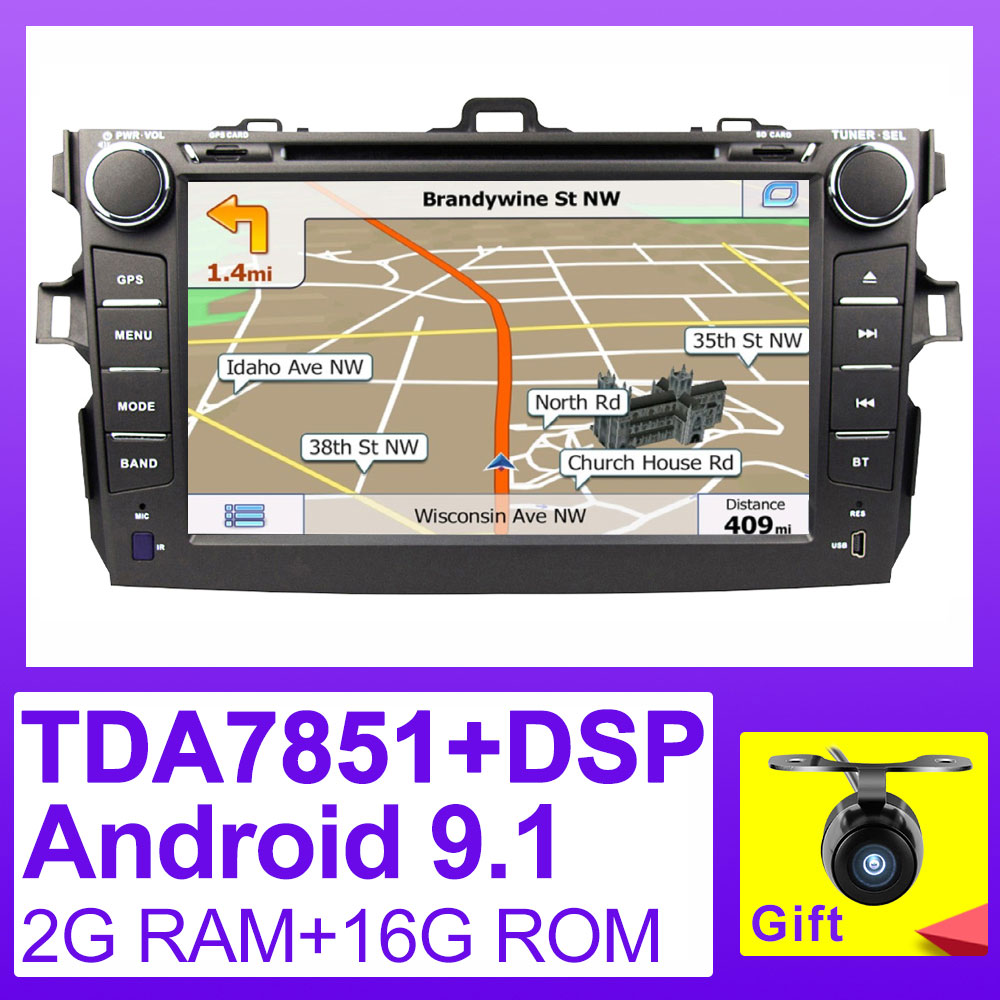 Eunavi TDA7851 2 din Android 9.1 car dvd <font><b>multimedia</b></font> player gps for <font><b>Toyota</b></font> <font><b>Corolla</b></font> 2007 2008 2009 2010 <font><b>2011</b></font> 1024*600 stereo radio image