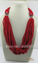 +++906 Unique Style 20nch Gem Stone Red Coral&Tibetan Silver Beads Necklace(China)