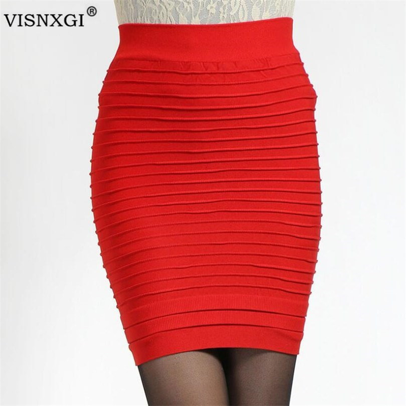 VISNXGI Package Hip Pencil Pleated Skirts Summer Women Skirt High Waist Candy Color Mini Elastic Pleated Sexy Office Party Skirt