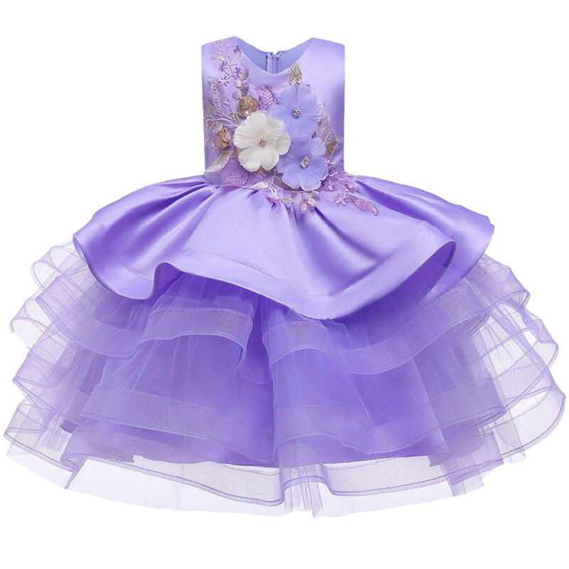 Вечерние платья с вышивкой для девочек; свадебные вечерние платья для девочек с цветами и бусинами; Детский карнавальный костюм Pengpeng - Цвет: purple