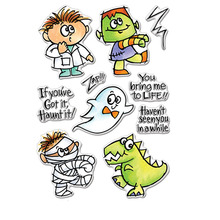 Funny Zombie Mummy Gohst Dinosaur Doctor Clear Stamps Five For DIY Card Making Kids Transparent Silicone Stamp New 2019
