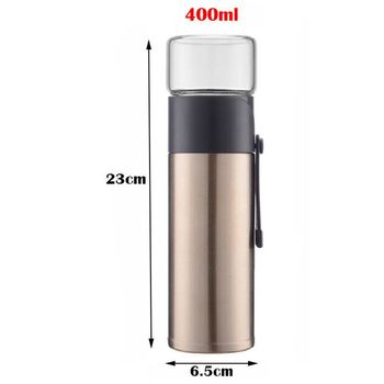 New Golden 400ml Home Kitchen Vacuum Flask Thermos Two Types Of Tea Filter Kung Fu Tea Cup Tea Separator Drinking Utensils