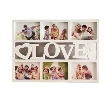 Trwałe piękny Hollow miłość drewniane rodzinne zdjęcie ramki na zdjęcia hurtownie zdjęcia Rahmen biała podstawa ozdoby do dekoracji wnętrz sześć 6 cal zdjęcia tanie i dobre opinie CN (pochodzenie)