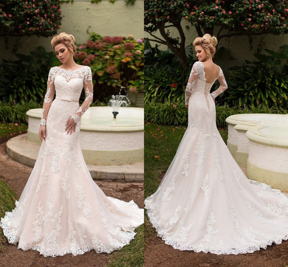 Vintage Mermaid Slim High Waist Party Gown Long Sleeves Lace Up Trumpet Banquet Wedding Dresses