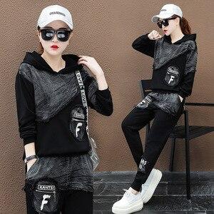 Image 2 - Max LuLu sonbahar 2019 moda kore Streetwear bayanlar üstler ve pantolonlar kadın iki parçalı Set Denim kıyafetler Vintage kapşonlu eşofman