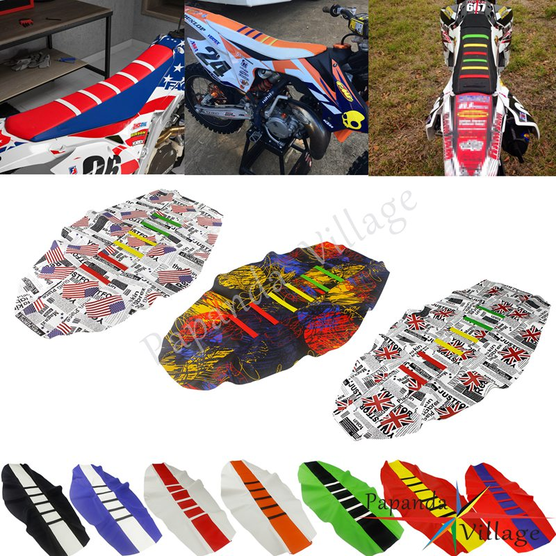 12 Colorful Enduro Motocross Custom Ribbed Seat Cover Gripper Traction Seat Pad For KTM Honda Kawasaki EXC XCF XR CRF 250 450