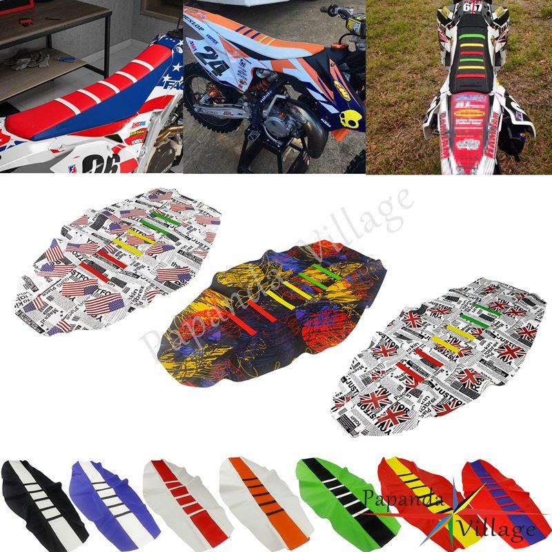 12 bunte Enduro Motocross Custom Rippen Sitz Abdeckung Greifer Traktion Sitz Pad für KTM Honda Kawasaki EXC XCF XR CRF 250 450
