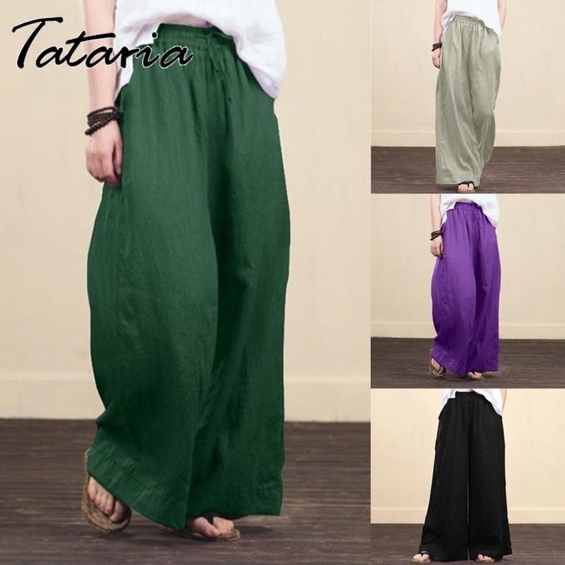 Женские однотонные хлопковые льняные широкие брюки harajuku, повседневные брюки с высокой талией, большие расклешенные свободные брюки с карма...