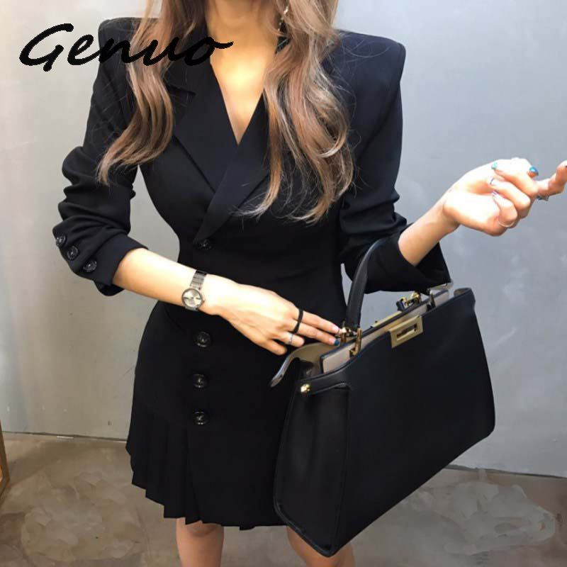 Gnuo New 2019 Women Korean Office Ladies Slim Fit V Neck Blazer Women Double Breasted Sexy Wrap Mini Outwear Suit