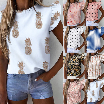 Women's Summer Ruffle Blouse 2020 New Sexy Short Sleeve Round Neck Print Shirt Female Fashion Plus Size Pullover Clothes