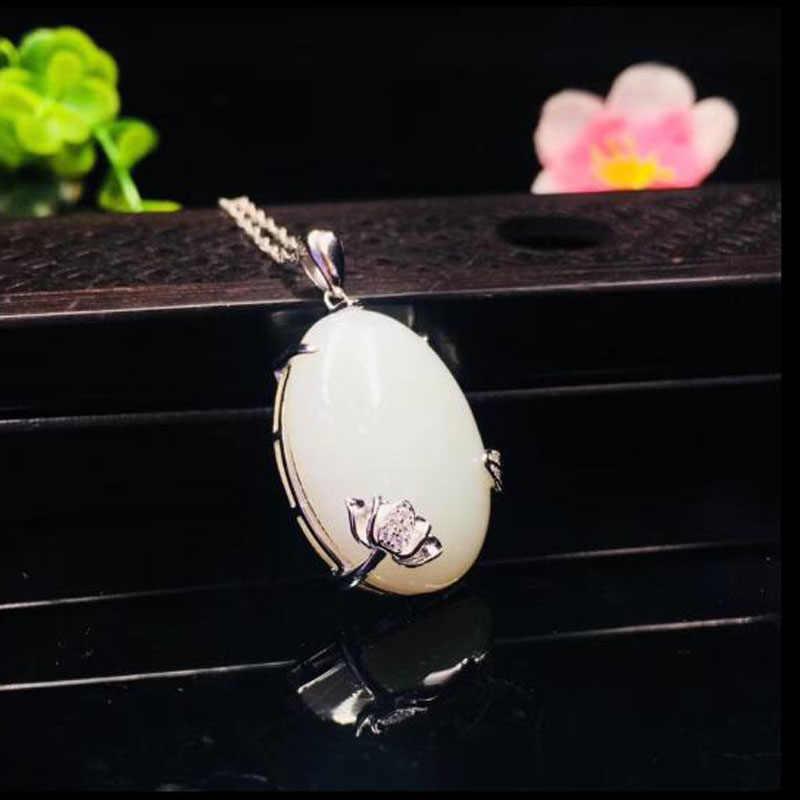 Indah Hetian Giok Putih Oval Bentuk Liontin 925 Perak Kalung Cina Jimat Fashion Pesona Perhiasan Hadiah untuk Wanita