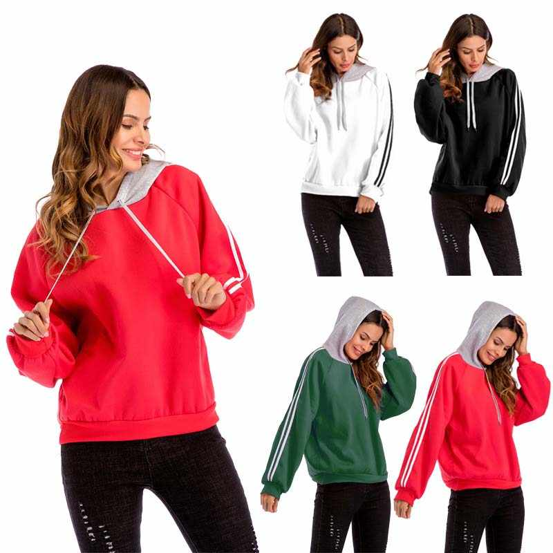 Autumn Hoodies Women Patchwork Black Striped Loose Red Hooded Tops Green Long Sleeve Cotton Spring Hat White Sweatshirt Ladies