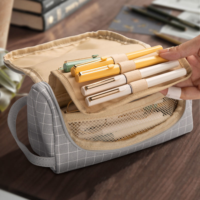 Creative  Canvas Large Capacity And Multiple Colour  Pencil Case 1