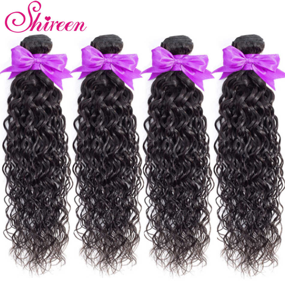 Shireen Brazilian WaterWave Bundles 100% Human Hair Weave Bundles Brazilian Remy Hair Extensions Natural Black Color