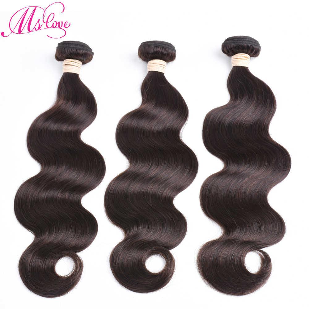 Ms Liefde #2 #4 Bruin Lichaam Wave Haar Bundels #1 Jet Zwart 1 2 3 4 Stuk braziliaanse Menselijk Niet-Remy Hair Extensions 100 Gram Elke