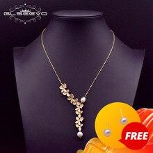 GLSEEVO 925 en argent Sterling feuille collier naturel eau douce perle pendentif collier pour les femmes de mariage beaux bijoux GN0110