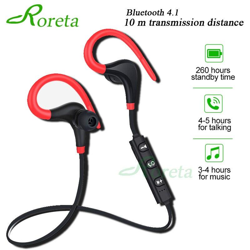 Roreta Bluetooth wireless earphone stereo ear-hook sports noise reduction earphones with microphone headset for iPhone Huawei