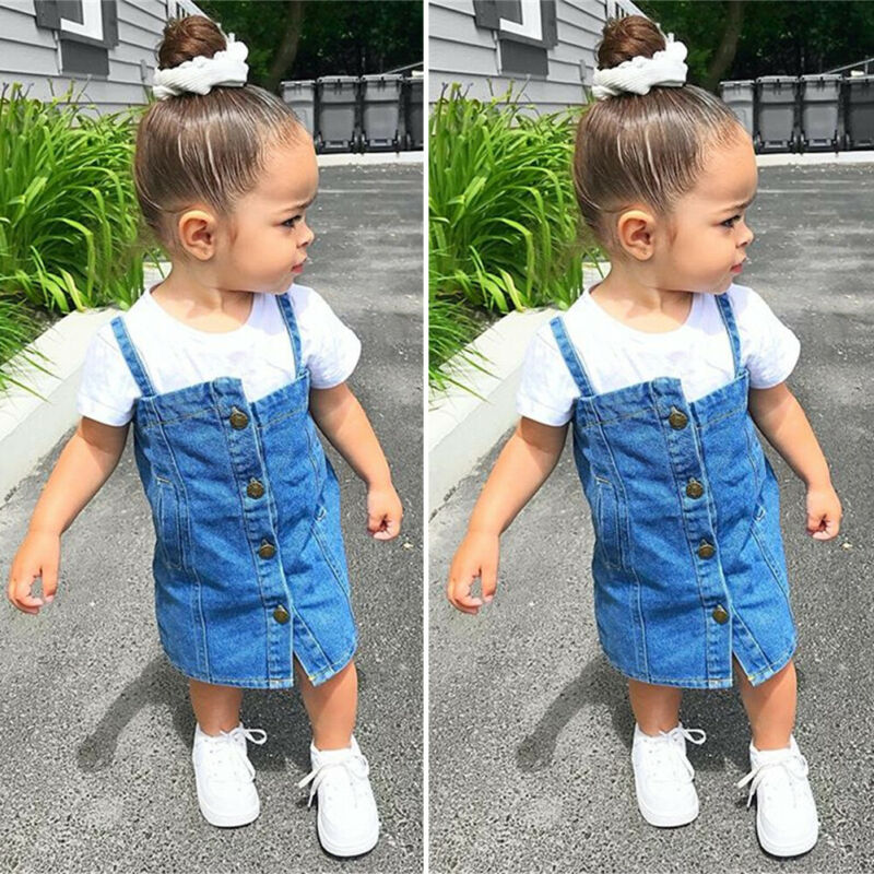 Sweet Toddler Kid Clothes Baby Girl 2Pcs Set Short Sleeve White T-Shirt + Button Overall Denim Bib Skirt Street Wear Outfit